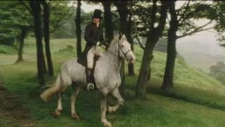 Mr Darcy, Colin Firth, astride a white horse