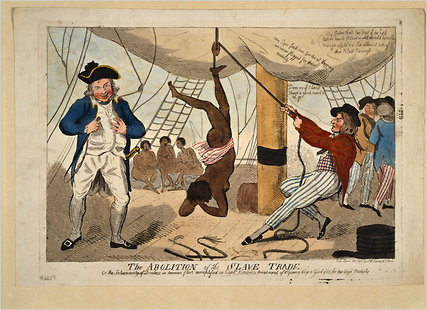 """The abolition of the slave trade Or the inhumanity of dealers in human flesh exemplified in Captn. Kimber's treatment of a young Negro girl of 15 for her virjen (sic) modesty.""Shows an incident of an enslaved African girl whipped to death for refusing to dance naked on the deck of the slave ship Recovery, a slaver owned by Bristol merchants. Captain John Kimber was denounced before the House of Commons by William Wilberforce over the incident. In response to outrage by abolitionists, Captain Kimber was brought up on charges before the High Court of Admiralty in June 1792, but acquitted of all charges. Image @Wikimedia"