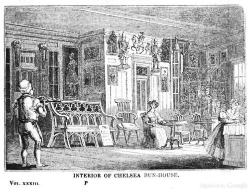 Interior of Chelsea Bun-House. Image from 1839 edition of The Mirror, Google eBook