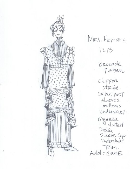 Mrs. Ferrars costume sketch