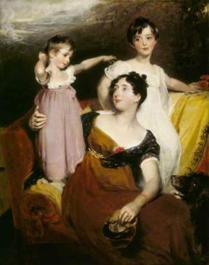 The modern eye would regard these two children as girls. Lydia Elizabeth Hoare (1786–1856), Lady Acland, with Her Two Sons, Thomas (1809–1898), Later 11th Bt, and Arthur (1811–1857) by Thomas Lawrence   Date painted: 1814–1815. Image @National Trust Collection