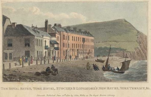 Sidmouth during Jane Austen's day. Image@Sidmouth Library. Click on image.
