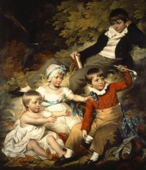 THE CHILDREN OF RICHARD CROFT, 6TH Bt.,c.1803, by John James Halls, R.A.  In this image one can see the three stages of boyhood - petticoats, skeleton suit, and jacket, shirt, and trousers.