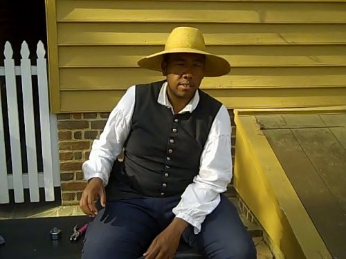 Chatting to tourists about life as a black man in Colonial Virginia