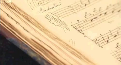 Jane Austen doodle in a music manuscript