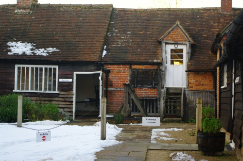 Out buildings in winter. Chawton Cottage Image@Tony Grant