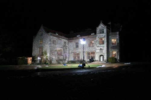 Filming at night on Chawton House grounds