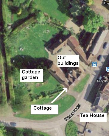Sattelite view of Chawton Cottage with its walled in garden and outbuildings. Click here to see the image of the village from satellite.