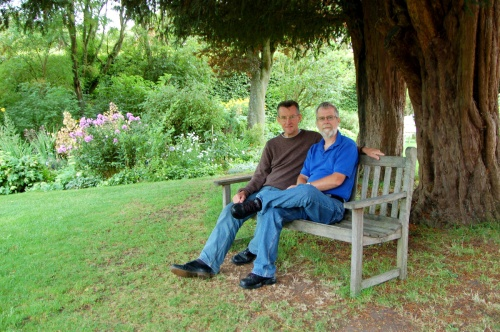 Tony (l) and his friend Clive sit under the fir tree. Image@Tony Grant