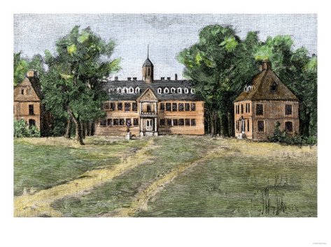 1700s view of William & Mary college with Wren building. @All Posters. Click on image to go to the site.