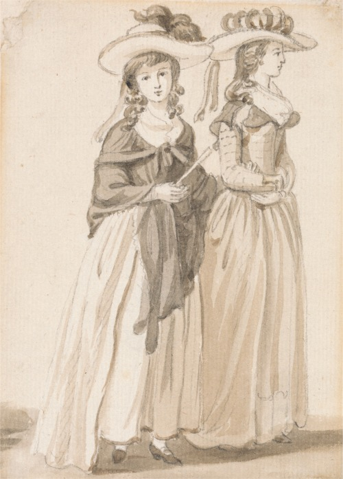 Paul Sandby, 1731-1809, British, The Misses Sandby of Norwich, undated, Graphite and brown wash on medium, slightly textured, cream laid paper, Yale Center for British Art, Paul Mellon Collection