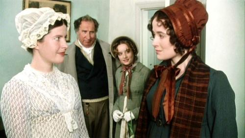 Charlotte, Lizzy, Maria Lucas, and Sir William Lucas. Pride and Prejudice 1995