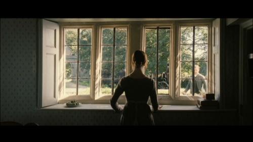 Charlotte at the window. Pride and Prejudice 2005