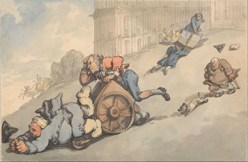 Rowlandson, The Comforts of Bath, Gouty person fall on steep hill. Wikimedia image.