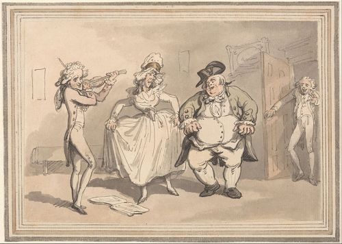 Rowlandson, The Comforts of Bath. Private practice previous to the ball. Wikimedia image.