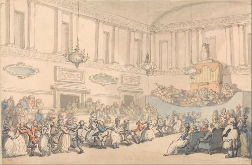 Rowlandson, The Comforts of Bath, The Ball. Wikimedia image.
