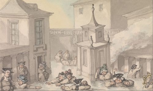 Rowlandson, The Comforts of Bath, The Bath. Wikimedia image.