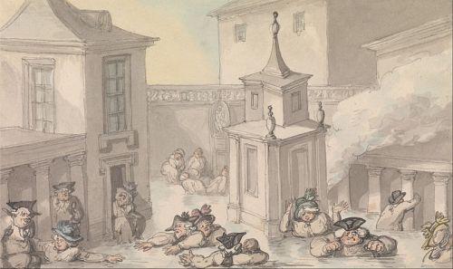 Rowlandson, The Comforts of Bath, The Bath. Wikimedia image.