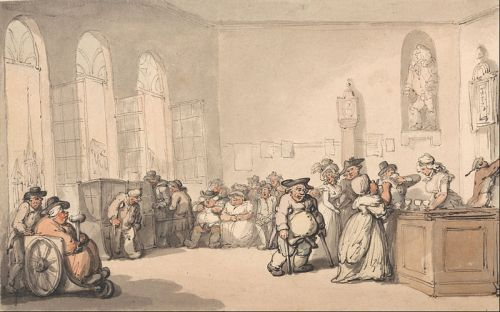 Rowlandson, The Comforts of Bath, The Pump Room. Wikimedia image.