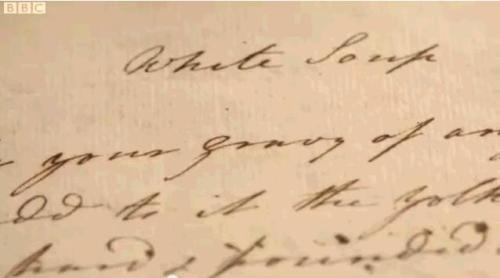 Martha Lloyd's recipe for white soup, a common dish served at supper dances.