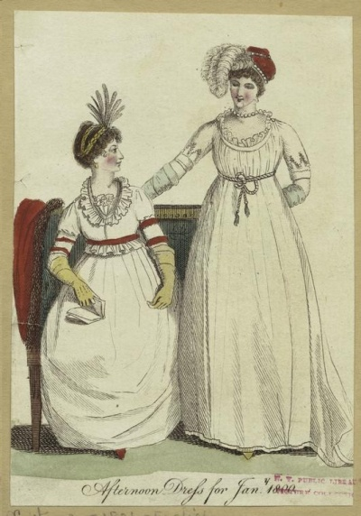Ladies Monthly Museum, afternoon dress, 1800