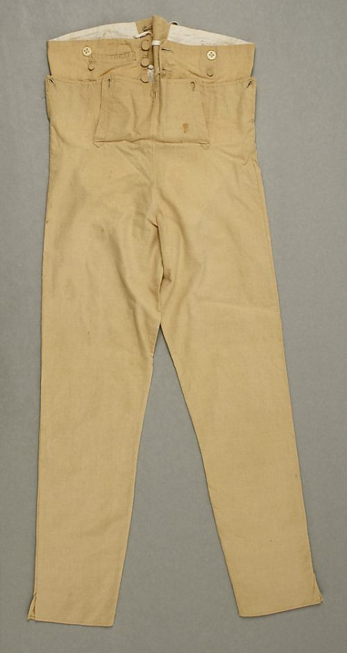 cotton trousers from 1800, Image @Met Museum, with slits up the seams.