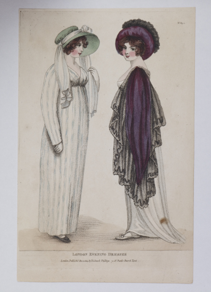 Fashions of London and Paris, evening dresses, 1805. @Museum of London