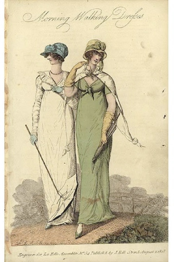 La Belle Assemblee, walking dresses, 1808