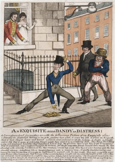 Tight trousers create a dilemma for this dandy, who cannot pick up his handkerchief.