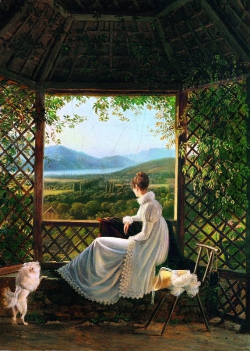 La reine Hortense sous une tonnelle à Aix-les-Bains (1813) by Antoine Jean Duclaux