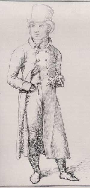 1809 image of man wearing pantaloons. Image @Republic of Pemberley