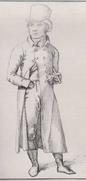 1809 image of man wearing pantaloons. Image @Republic of Pemberley