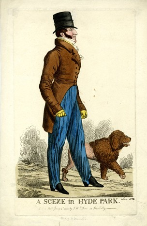 The Marquis of Worcester walks in profile with his half-clipped poodle. He wears top-hat, double-breasted tail-coat with a rose in his buttonhole, and strapped trousers. Jan 1 1823. Image@ British Museum