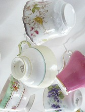 Four out of five Regency tea cups