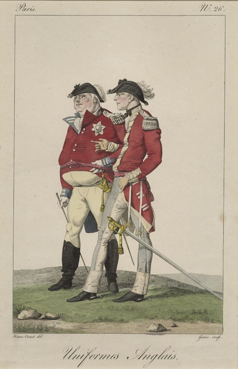 French illustration of British gentlemen. Note the unflattering way that pantaloons hug the figure on the left.