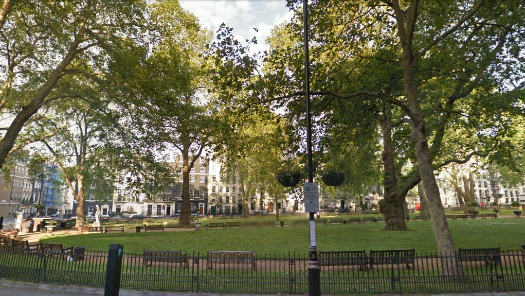 View from the shop at #7 to Berkeley Square. Note that the plane trees are among the oldest in central London, planted in 1789 by