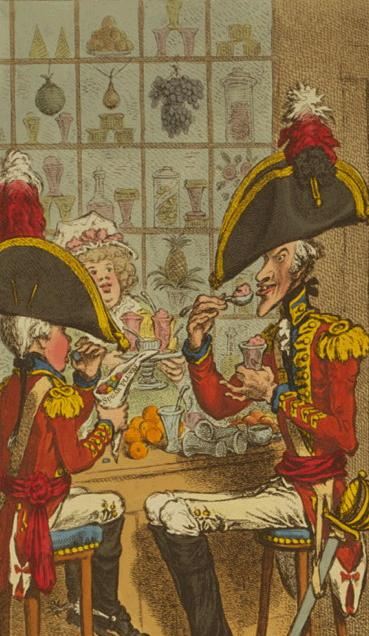 Detail of a James Gillray cartoon of soldiers eating  in a confectioner's shops, 1797. Image @Library of Congress