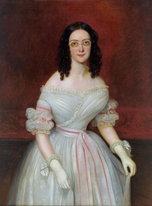 Jean-Joseph Vaudechamp portrait of Mrs. Antoien Julien Meffre-Rouzan, c. 1839, New Orleans