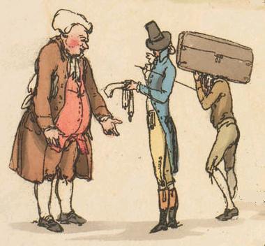 Arrival at an inn, or examining his accounts?