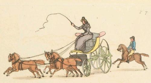 A woman driving a phaeton
