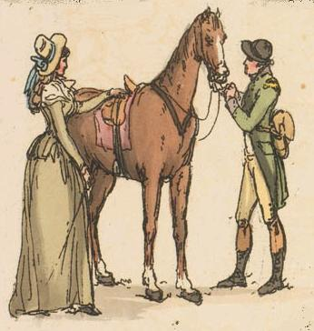 An equestrienne about to go on a ride