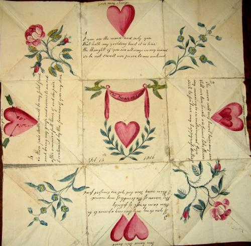 Valentine puzzle purse, February 14, 1816