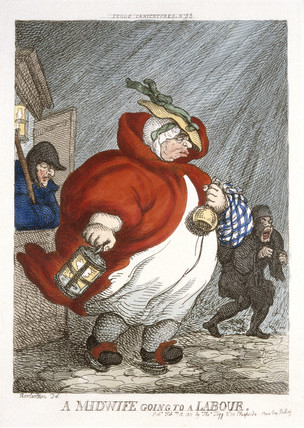 Rowlandson, Midwife going to a labour.