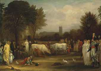 Benjamin West, P.R.A. (Springfield 1738-1820 London)  Milkmaids in St. James's Park, Westminster Abbey beyond  oil on panel