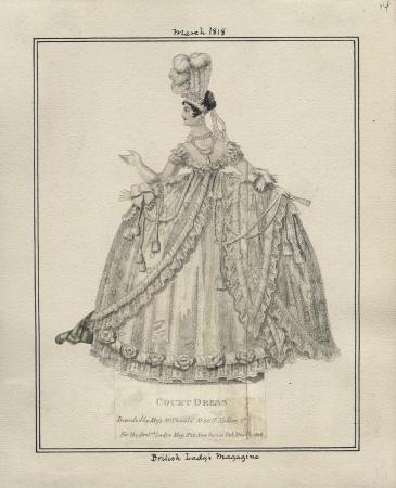 1818 Court dress, British Ladies Magazine. Collection, Los Angeles Public Library