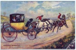 Gretna Green, trois cartes postales illustrées (d'une série de 4) représentant les épisodes d'un mariage à Gretna Green : (Le Départ) ; Moments d'angoisse. Image @Wikimedia Commons