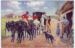 Gretna Green, trois cartes postales illustrées (d'une série de 4) représentant les épisodes d'un mariage à Gretna Green