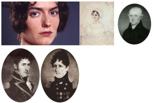 Left to right; Anna Chancellor, Jane Austen, Rev. George Austen. Bottom: Francis (l) and Charles (r) Austen.