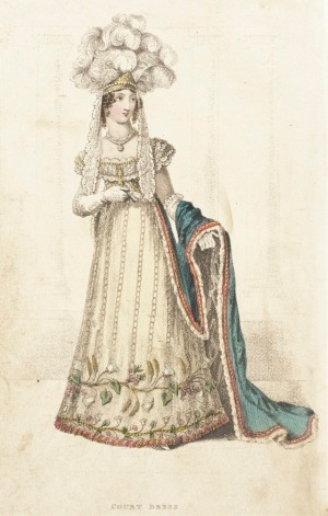 John Bell, Publisher. Court dress, London, England, July 1, 1822. LACMA50 collection