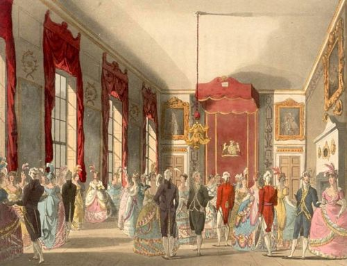Rowlandson, Drawing Room at St. James's Palace in London, Microcosm o fLondon, 1810. Image, Wikimedia Commons.